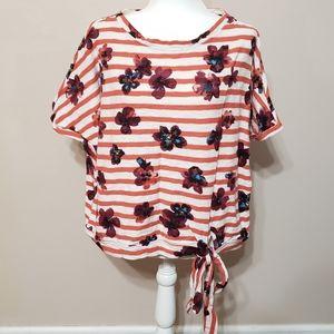 Anthropologie striped floral dolman tie waist top